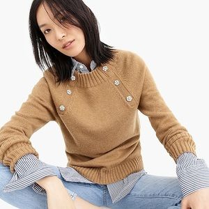 J Crew crewneck sweater with jeweled buttons
